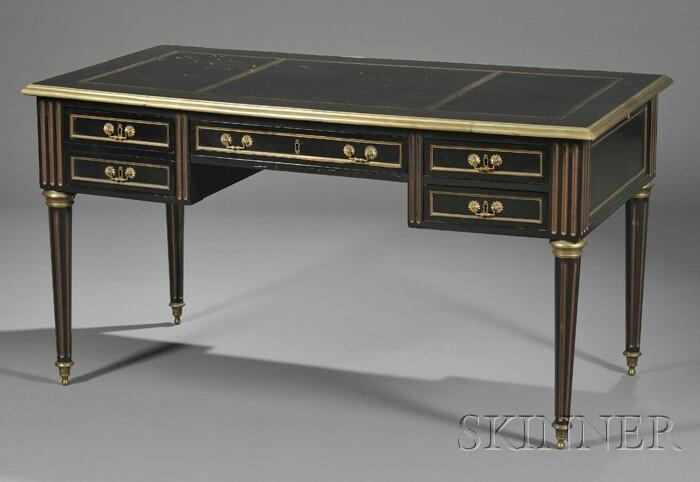 Louis XVI-style Ormolu Mounted, Ebonized, and Parcel-gilt Desk