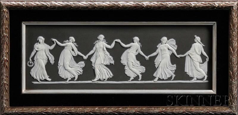 Wedgwood Solid Black Jasper Dancing Hours   Plaque