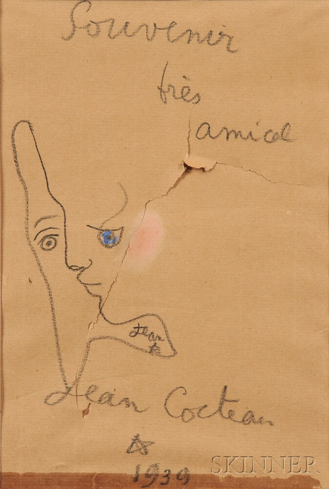 Jean Maurice Eugene Cocteau (French, 1889-1963)    Souvenir très amical