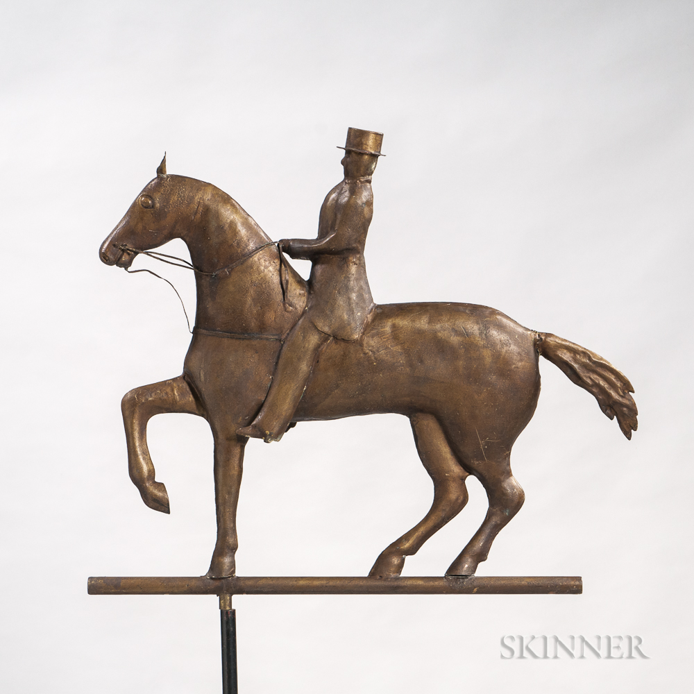 Molded Copper and Cast Zinc Formal Horse and Rider Weathervane