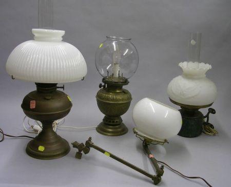 Four Assorted Victorian Kerosene Lamps