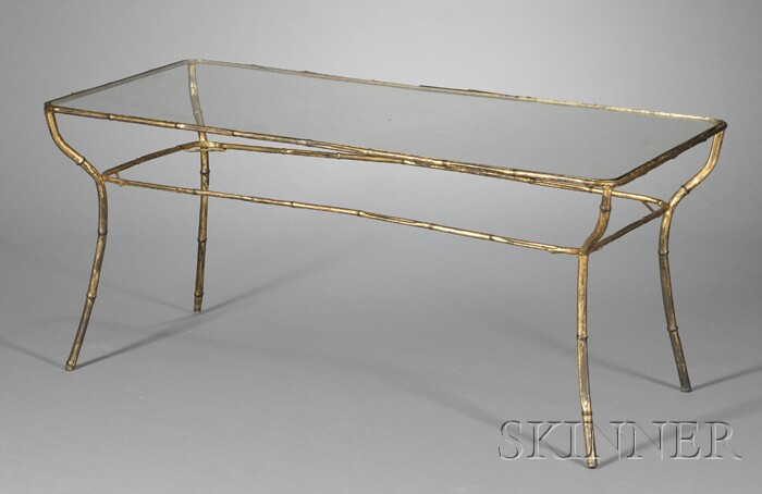Faux Bamboo Gilt-metal Coffee Table
