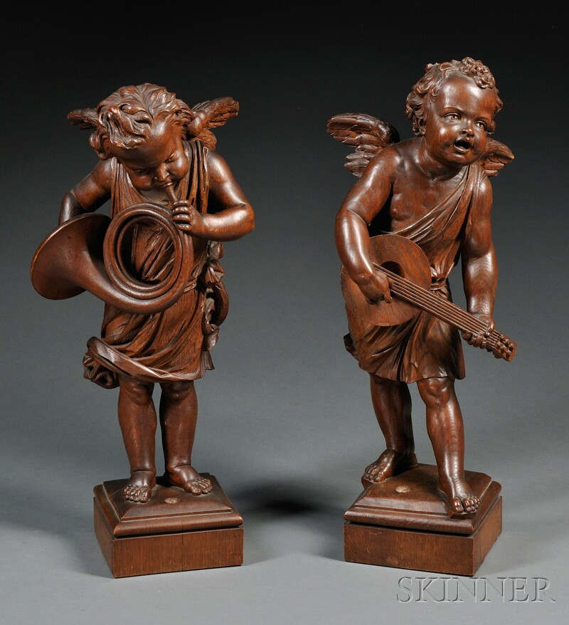 Pair of Carved Oak Cherubs Playing Instruments