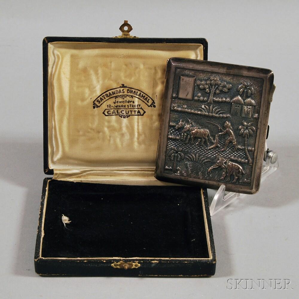 Boxed Indian Silver Cigarette Case