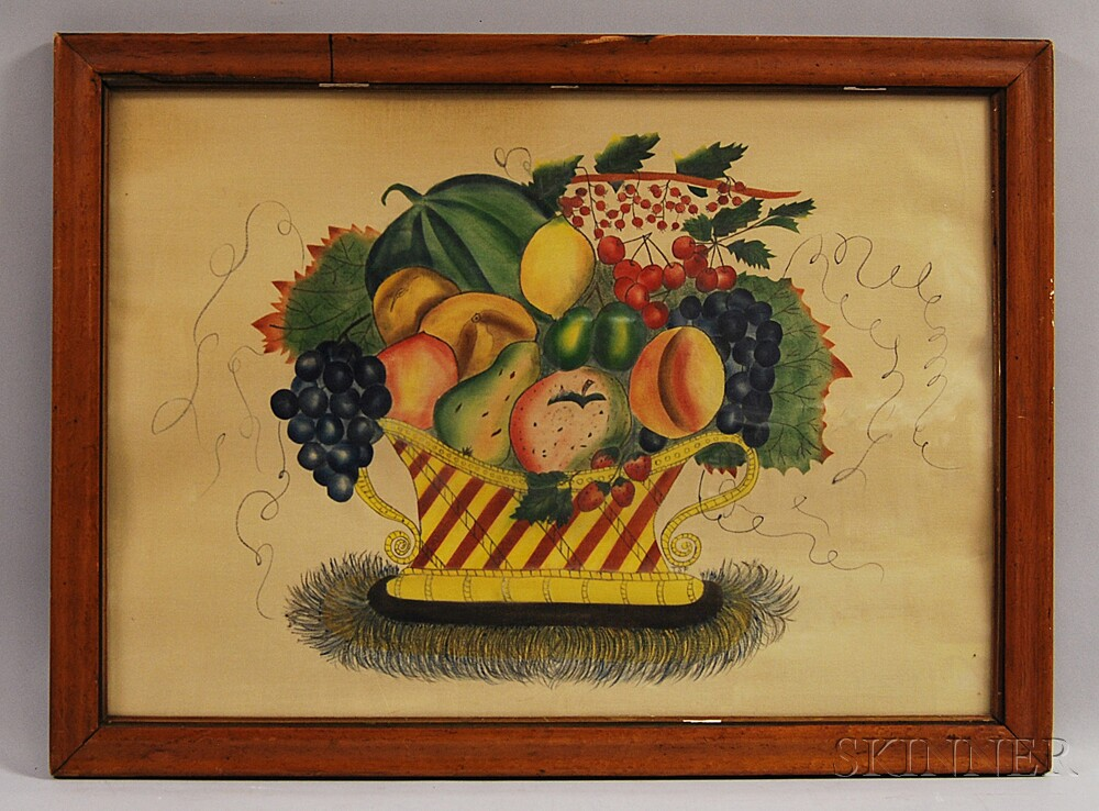 Framed Watercolor on Velvet Theorem of a Basket of Fruit
