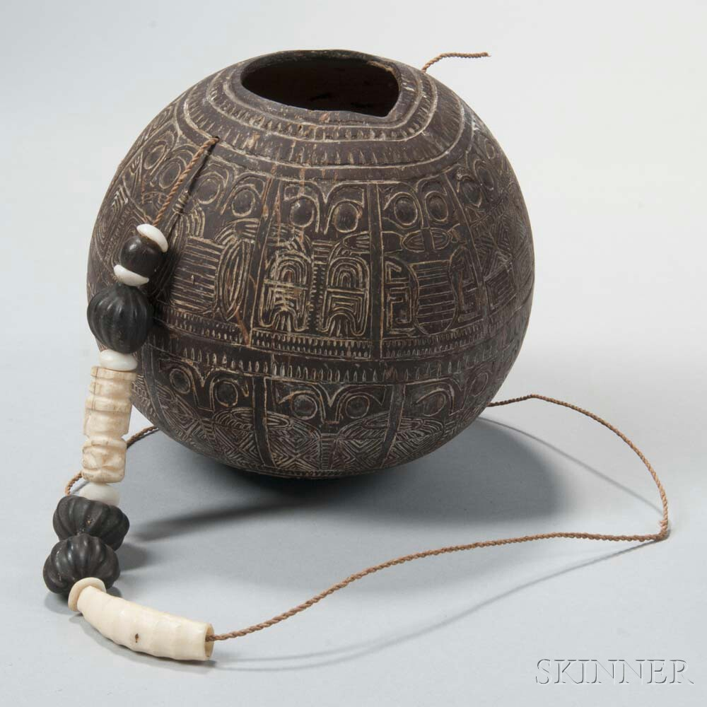 Marquesas Islands Large Carved Coconut