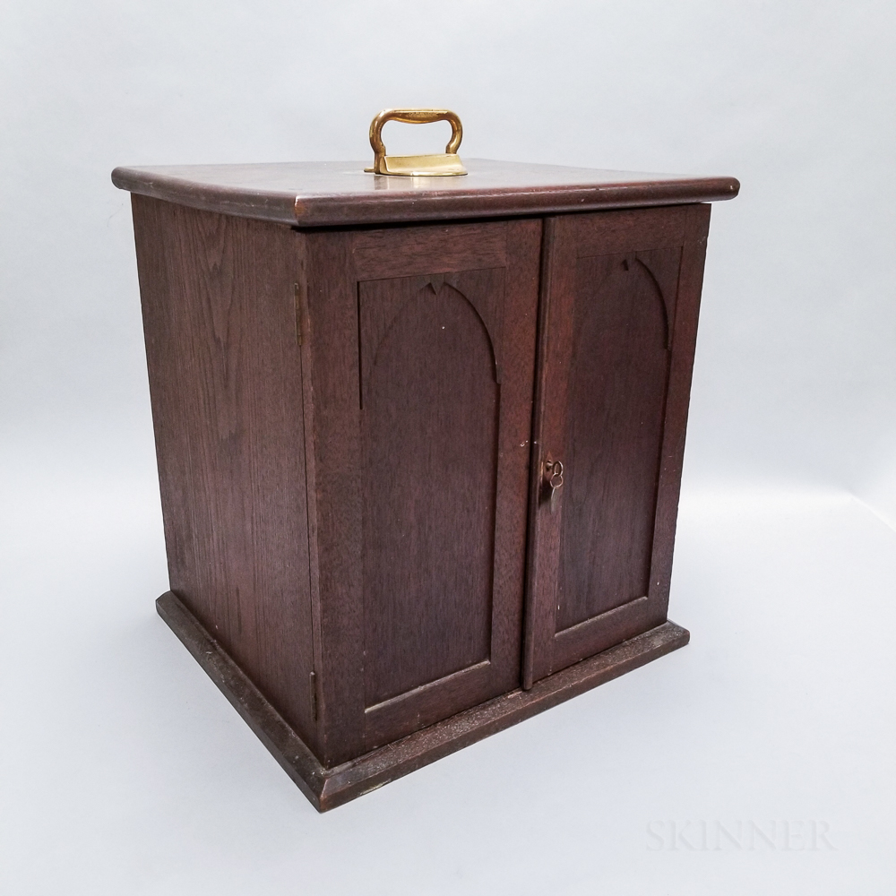 Small Walnut Twenty-tray Coin Cabinet
