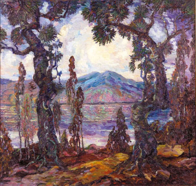 Dorothea M. Litzinger  (American, 1889-1925)      Mountain Lake Through the Pines