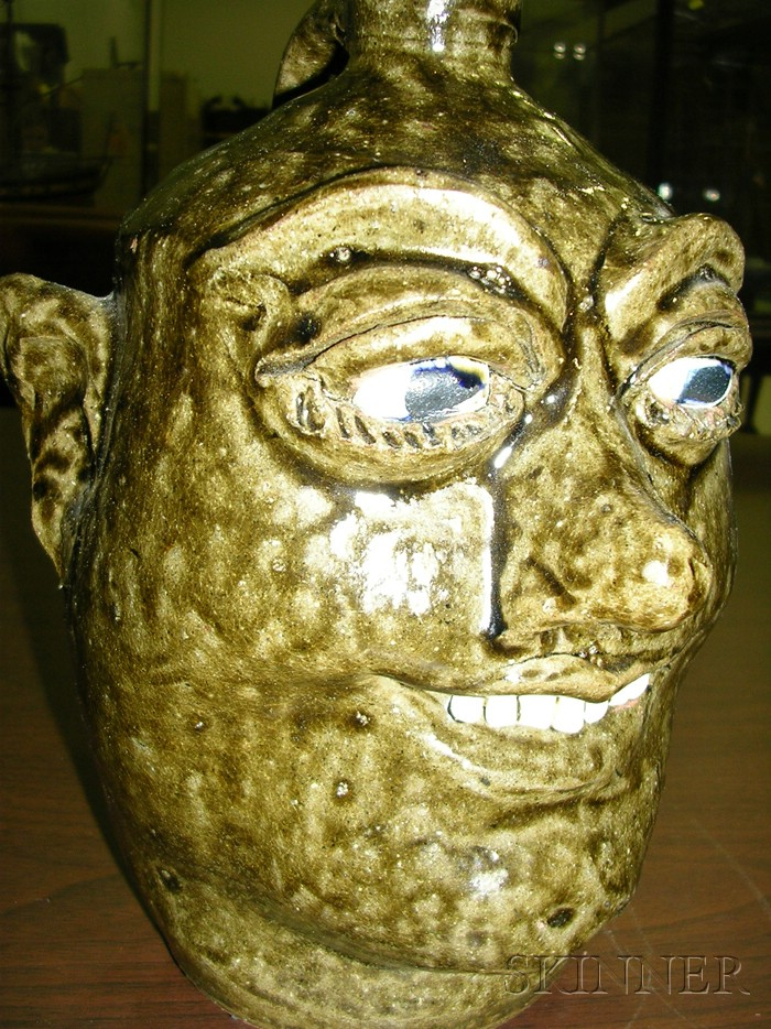Lanier Meaders Redware Pottery Face Jug