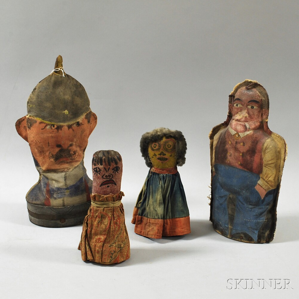 Four Vintage Painted Canvas Figural Carnival Knock Downs