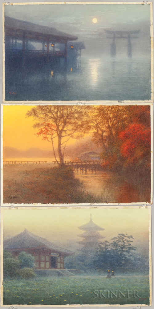 Six Yoshihiko Ito (1867-1942) Watercolor Landscapes