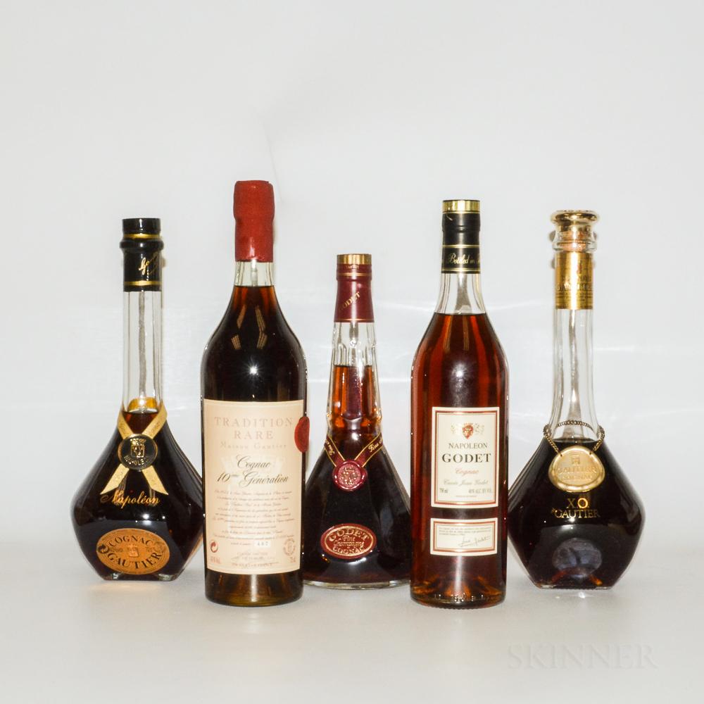 Mixed Cognac, 5 bottles (oc)