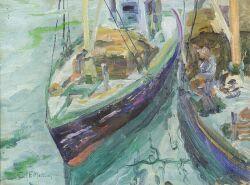 Edith Francis Marsden (American, b. 1880)  Wharf Scene