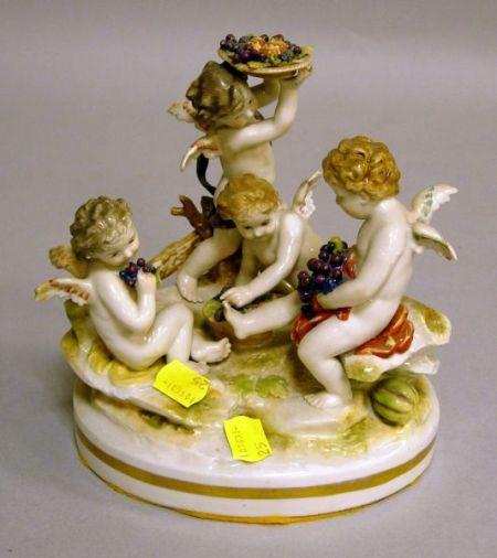 Dresden Porcelain Figural Group of Dionysian Cherubs.