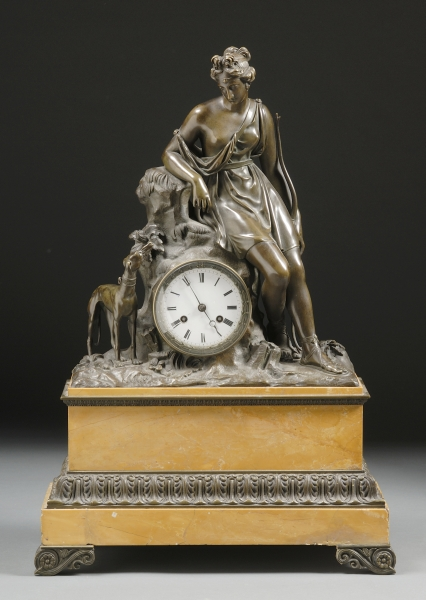 Bronze and Siena Marble Mantel Clock