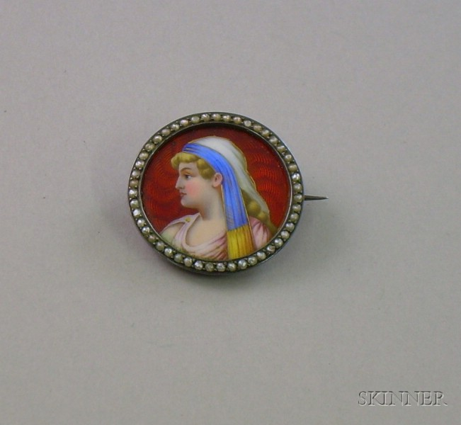 .900 Silver, Seed Pearl, and Enamel Portrait Brooch of a Classical Lady