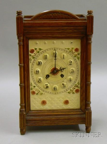 French Oak Mantel Clock
