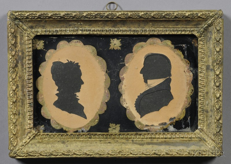 Double Silhouette Portraits of a Lady and Gentleman