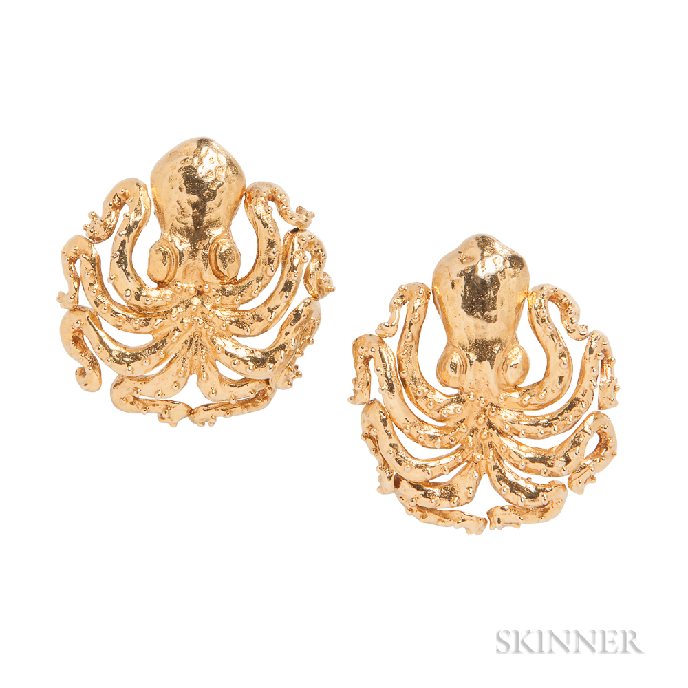 18kt Gold Octopus Earclips, Lalaounis