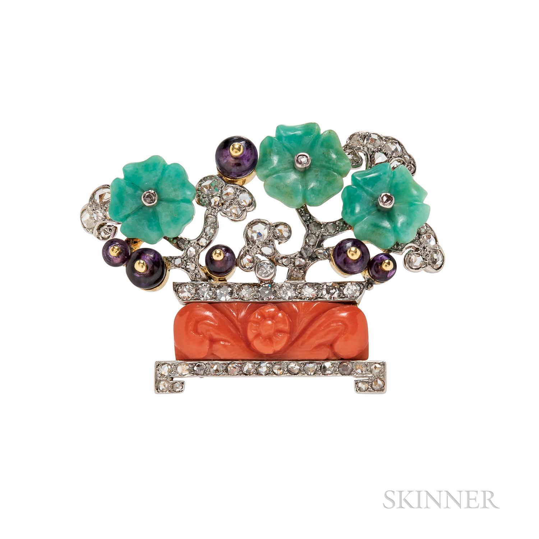 Art Deco Cartier Coral, Amazonite, Amethyst, and Diamond Flowerpot Brooch