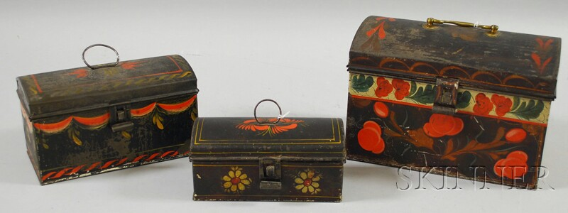 Three Paint-decorated Tinware Dome-top Boxes