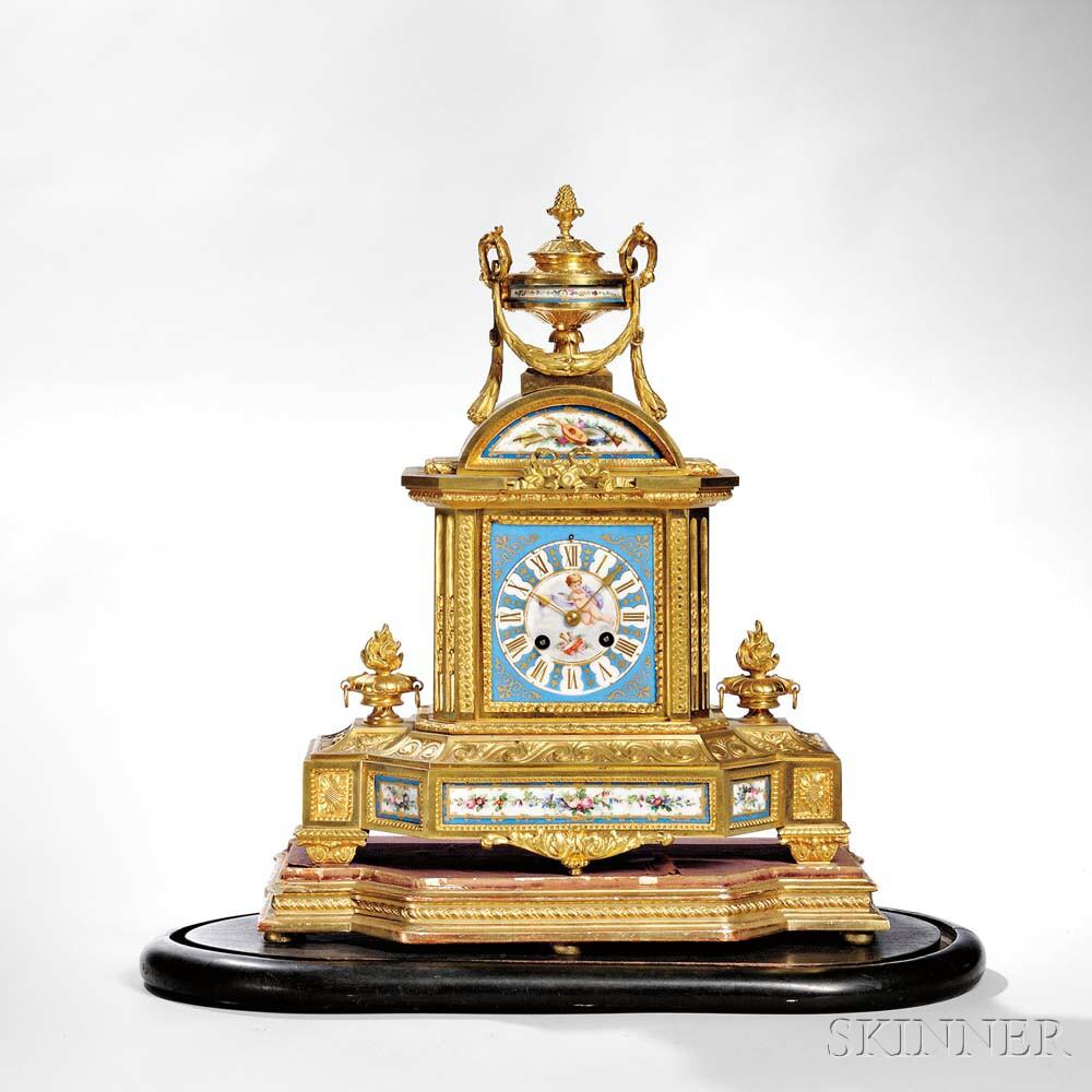 Gilt and Porcelain Paneled Mantel Clock
