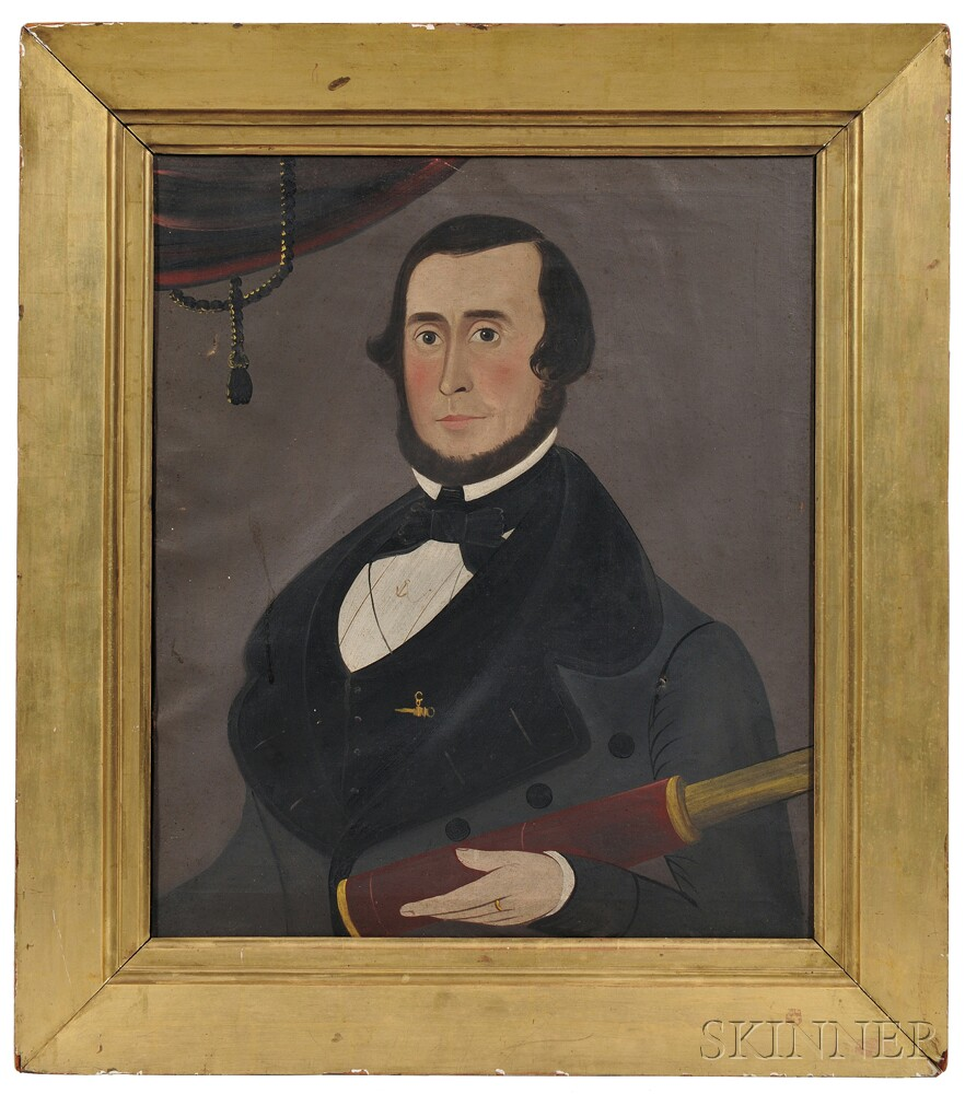 George Hartwell (Massachusetts, 1815-1901)      Portrait of a Sea Captain, Reportedly Rufus S. Fales, Esq. (1812-1858)