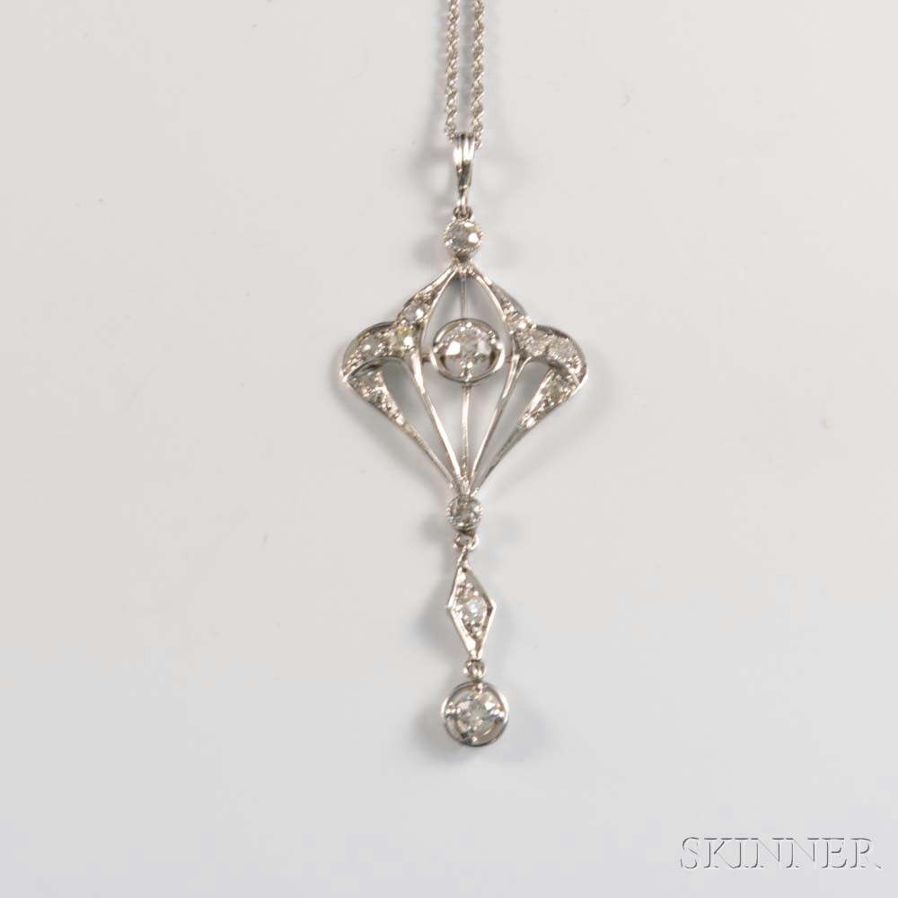 14kt White Gold and Diamond Lavaliere