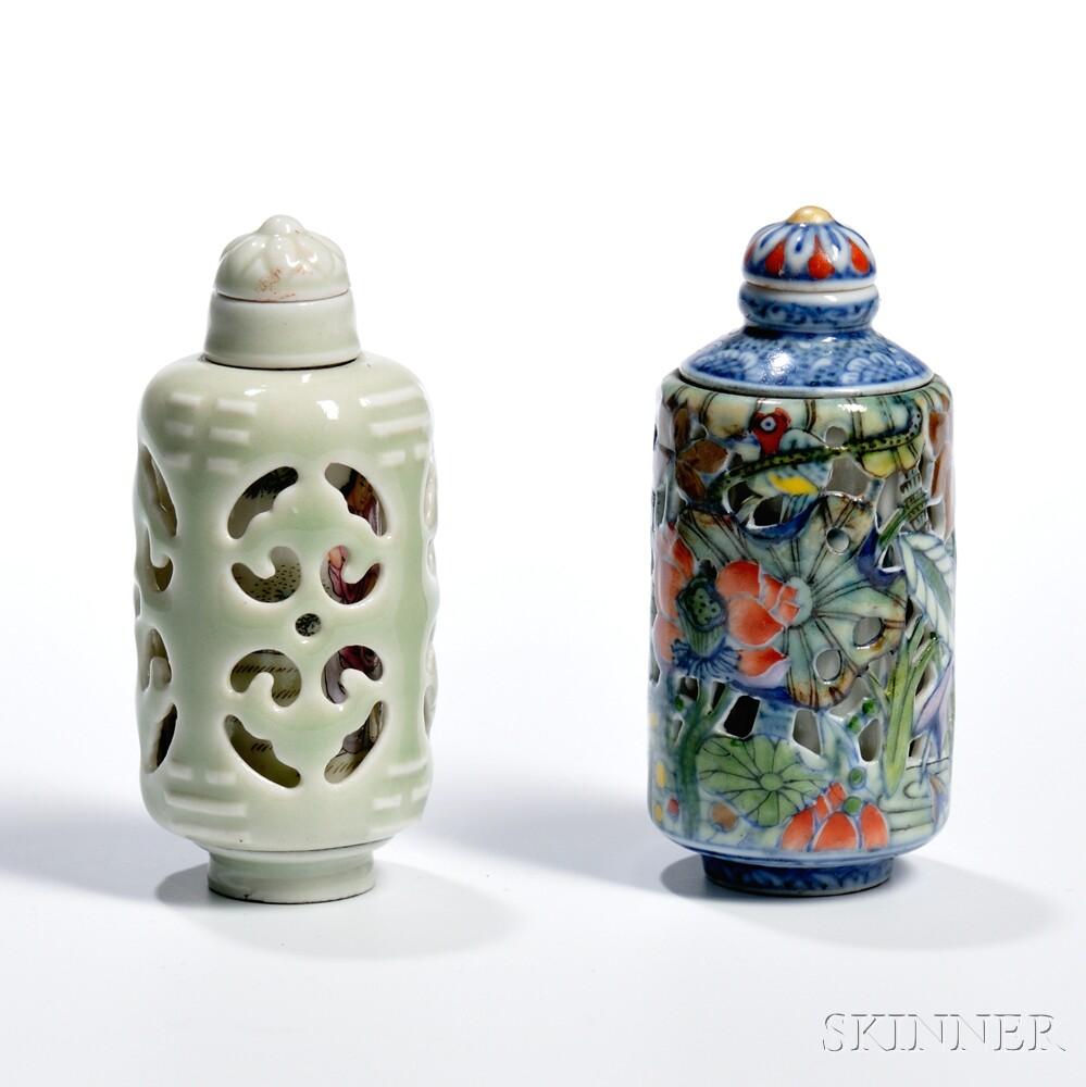 Two Rotating Openwork Ceramic Snuff Bottles