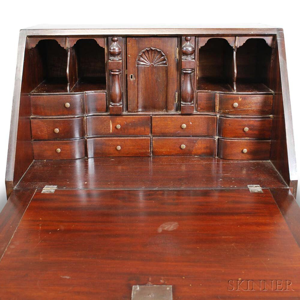 Queen Anne-style Mahogany Desk-on-frame
