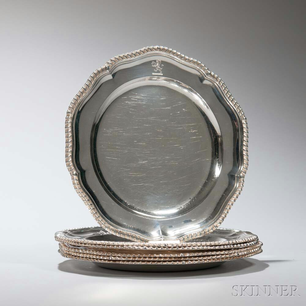 Six Victorian Sterling Silver Plates