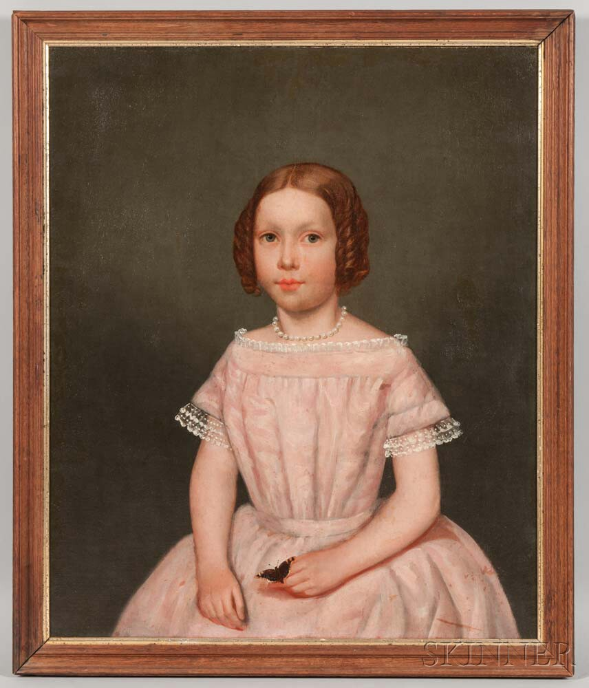 American School, 19th Century       Portrait of a Girl with a Butterfly.