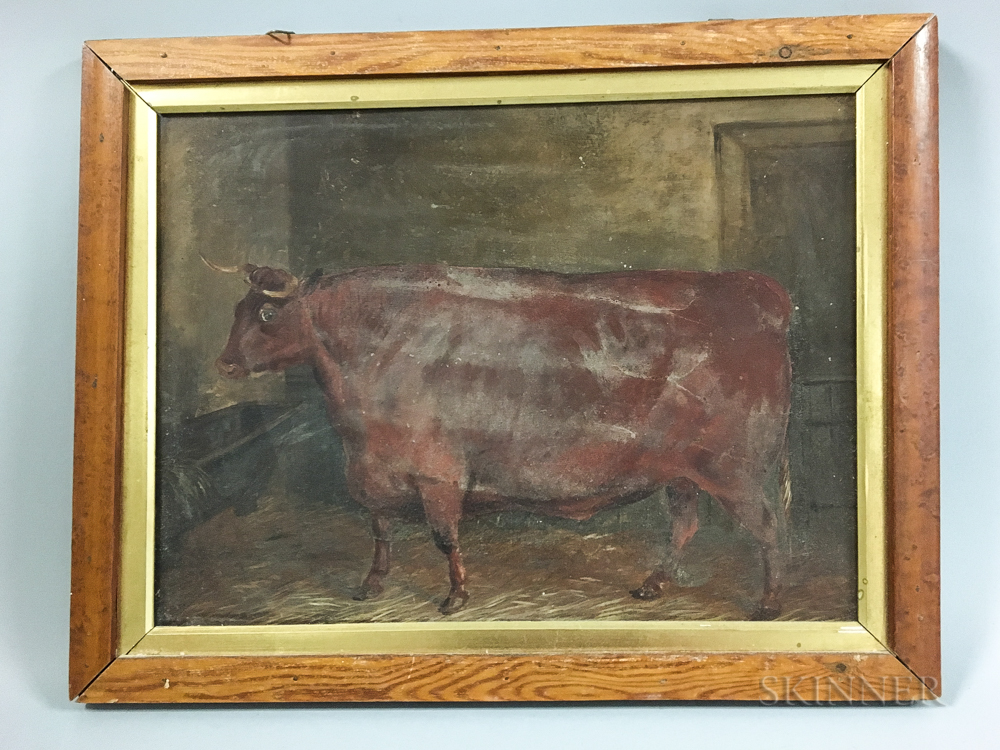 Anglo/American School, 19th Century       Double-sided Portrait of a Horse and Cow.