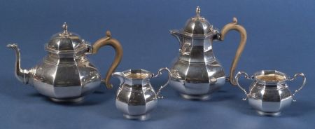 George V Four Piece Queen Anne-style Silver Tea and Coffee Service