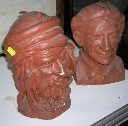 Painted Modeled Plaster Bust of an Arab and a Frenchman