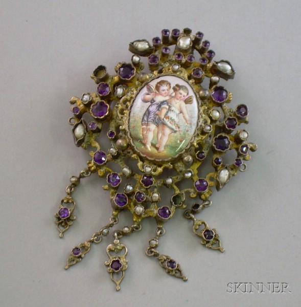 Antique Bohemian Painted Enamel, Purple Glass, and Pearl Brooch/Pendant