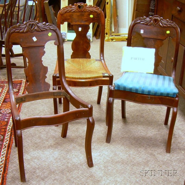 Set of Five Empire Carved Mahogany and Mahogany Veneer Side Chairs.