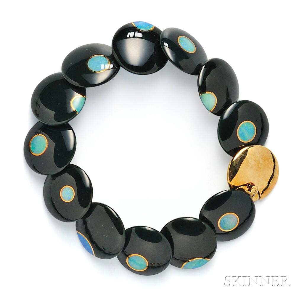 18kt Gold, Black Jade, and Opal Bracelet, Tiffany & Co.