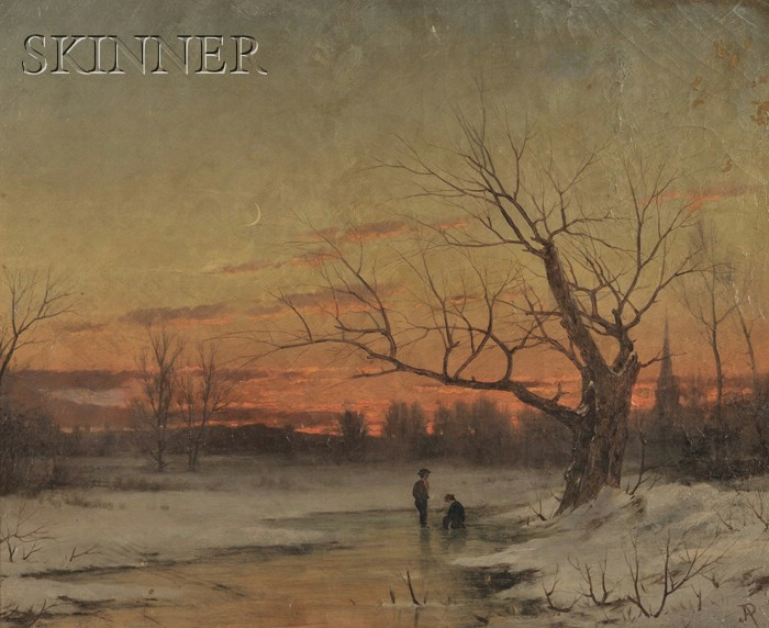 John Adams Parker (American, 1837-1900)      Two Figures on a Frozen Winter Stream at Dusk