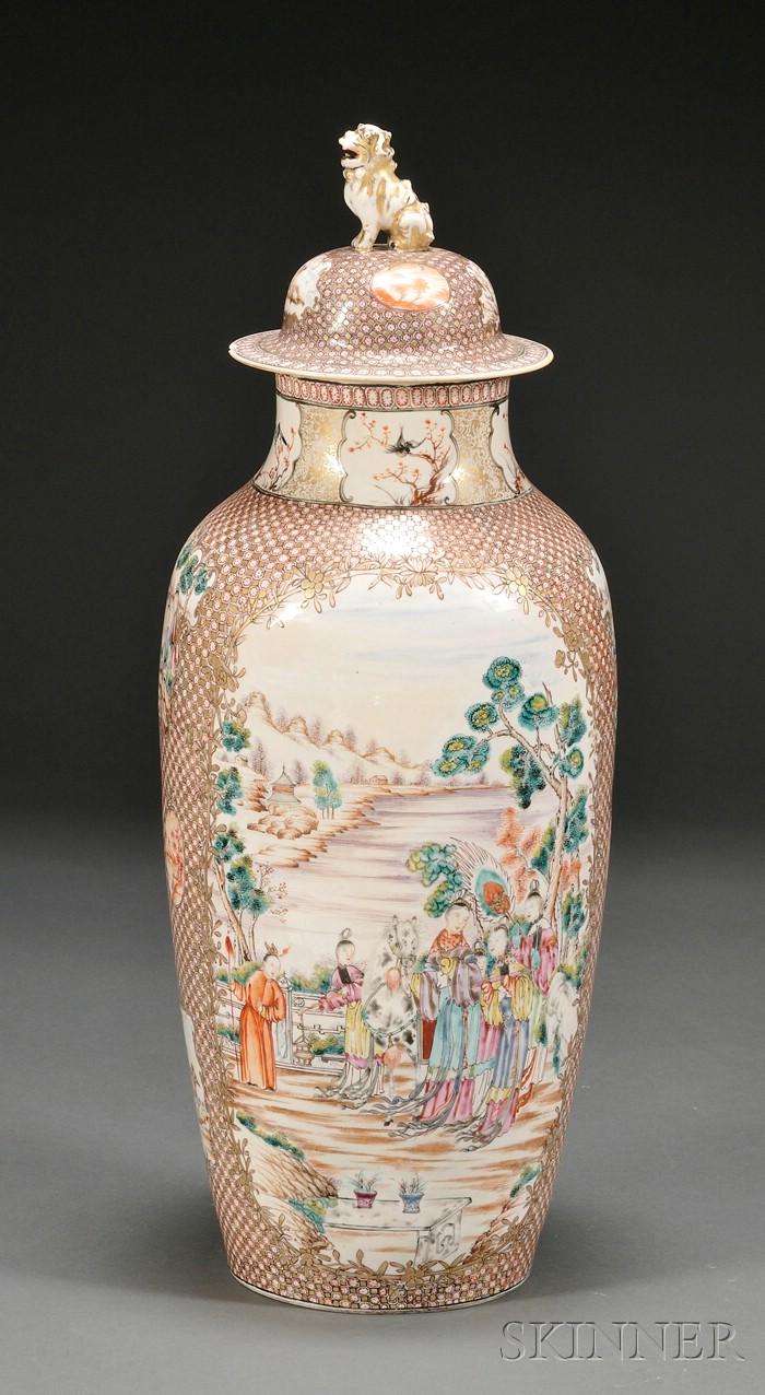 Chinese Enamel and Gilt-Decorated Porcelain Covered Vase