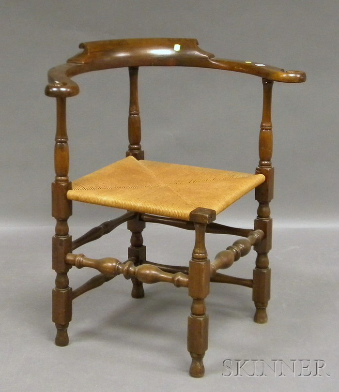 William & Mary Carved Walnut Roundabout Chair