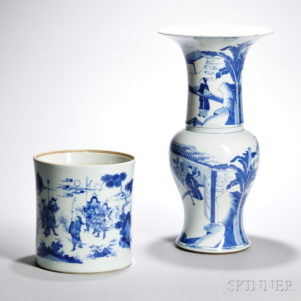 Two Blue and White Porcelain Items