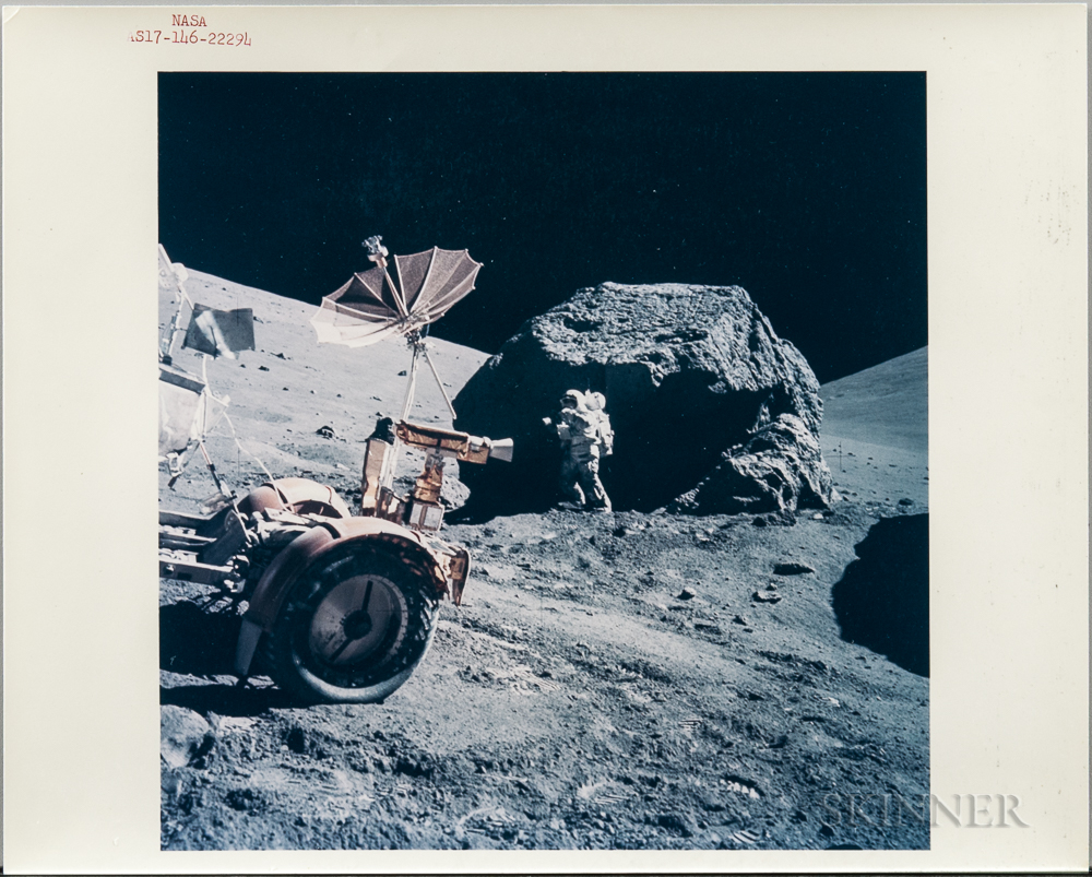 Apollo 17, Harrison Schmitt Taking Photographs at Split Rock, Station 6, EVA-3, December 1972.