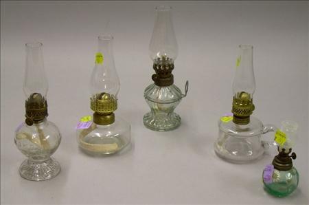 Five Miniature Pressed Glass Kerosene Lamps