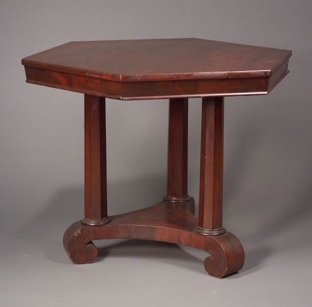 Classical Hexagonal Mahogany and Mahogany Veneer Center Table.