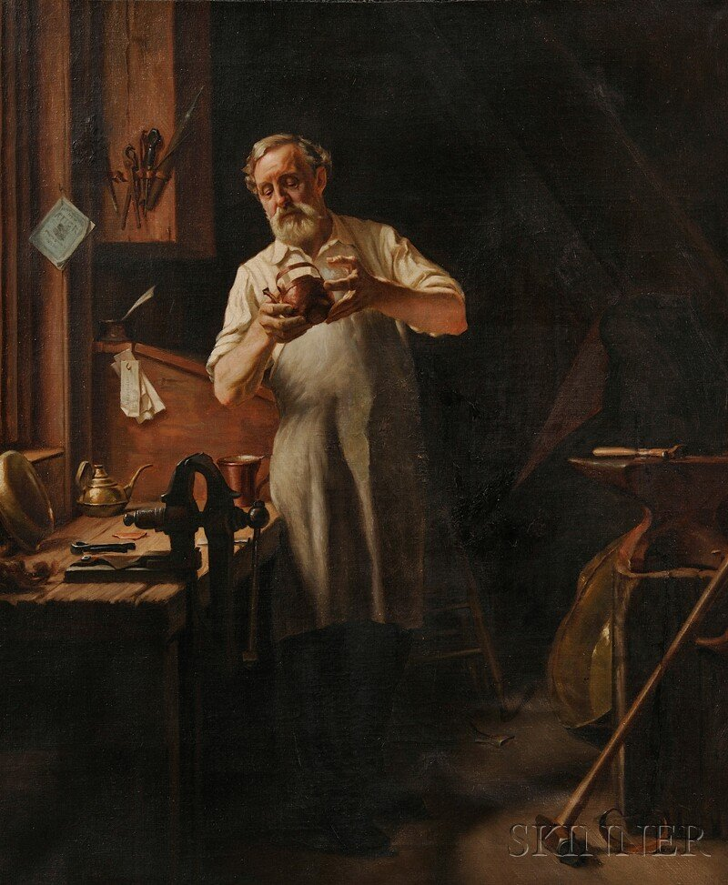 Continental School, 19th Century      Coppersmith in his Workshop