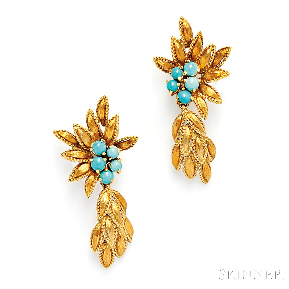 18kt Gold and Turquoise Earpendants