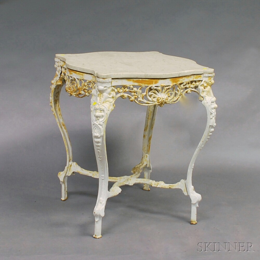 Rococo-style White-painted Cast Iron Marble-top Table