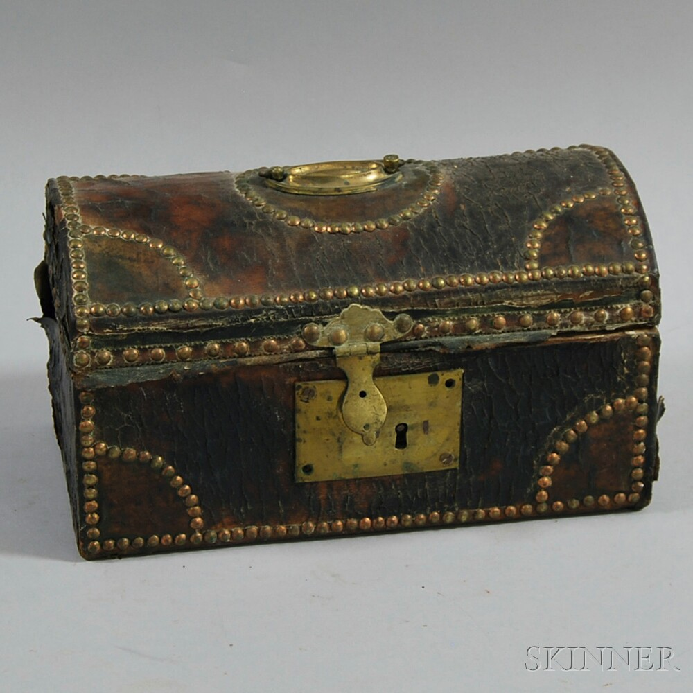 Small Leather-covered Dome-top Lady's Box