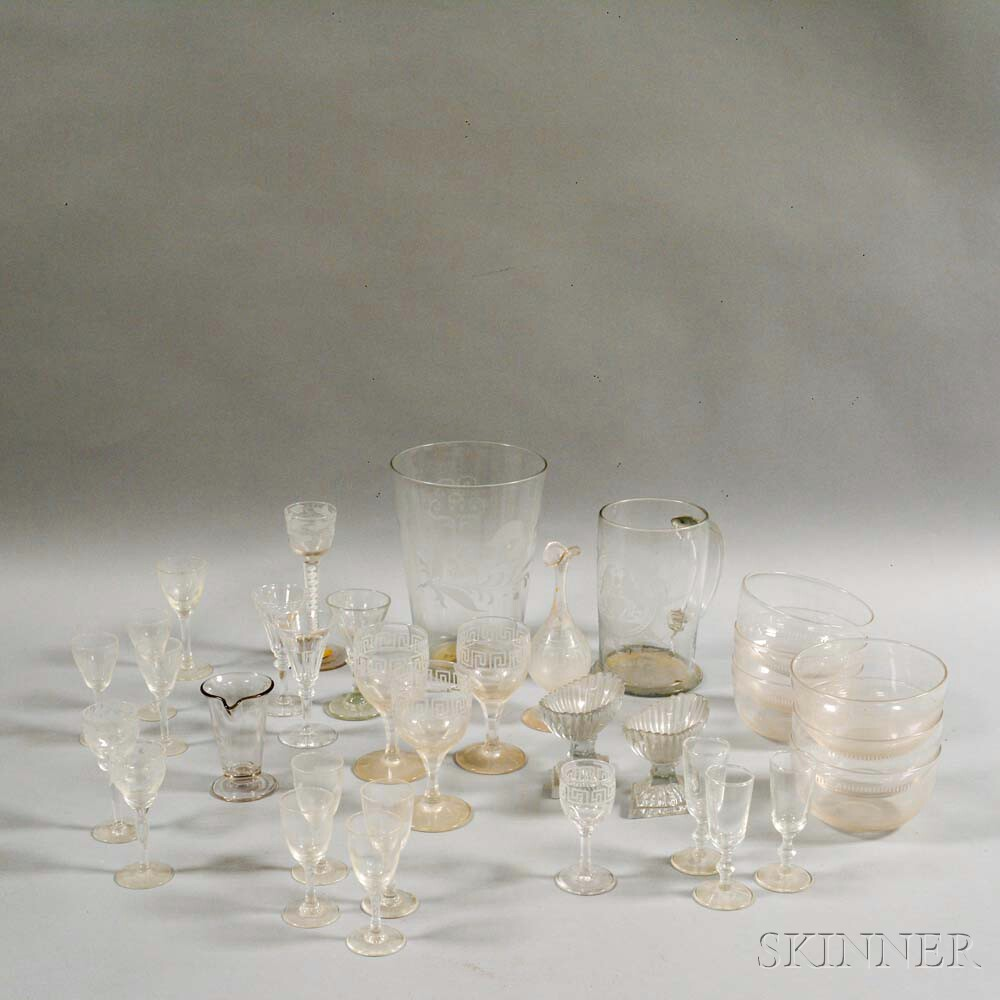 Approximately Thirty-three Colorless Blown Glass Tableware Items